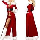 Junjie-Weihnachten Frauen Sexy Lange Nachtwäsche Flauschigen Pelz Gürtel Unterwäsche Nachthemd Mantel Damen Gürtellinie der Reizvollen Unterwäsche des Plüschfußbezugs