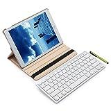 Knlona Drahtloser Blue-Teeth Tastatur Schreibkopf Feder PU-lederner Intelligenter Fall Abdeckung Kompatibel für iPad Pro 9.7 Zoll Champagner Gold