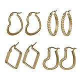 Houlife Edelstahl Creolen Ohrringe für Damen 4 Paare Polierte Herz&Kreis&Quadratisch Ohrringe Gold Kreolen Earring Hoop