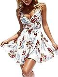 ECOWISH Damen Kleid Sommerkleid V-Ausschnitt Ärmellos Blumendruck Spaghetti Strap Mini Swing Strandkleid Mit Gürtel