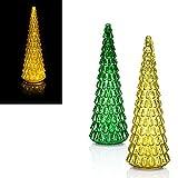 LED Tannenbaum aus Glas, 2 Farben zur Auswahl, 40 cm, 30 LEDs, Timer. Weihnachtsbaum, Tanne (Gold)