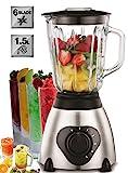 Standmixer 800 Watt Glas Edelstahl | Smoothie Maker | Mixer | Universal Power Mixer | 1,5 Liter | 6-Fach Metallmesser | Zerkleinerer | Eiweiß Shaker | Ice Crusher (Edelstahl)