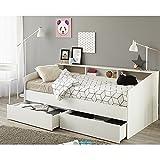 Funktionsbett 90*200 cm weiß inkl. Bettschubkasten Regalwand Kinderbett Jugendbett Bettliege Bett Jugendzimmer Kinderzimmer Gästezimmer