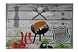 """Aminata Home BBQ Matten Grill Grillteppich """"100% fresh BBQ"""" 140x95 cm   Teppich für vor den Grill Terrasse  Made in Europe   Brandschutzsicher waschbar   Outdoor Teppich Bodenschutz Grillschutzmatte"""
