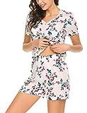 ADOME Schlafanzug Damen Kurz Zweiteiliger Pyjama Set Baumwolle/Viskose Blumen Nachthemd Set aus Unifarben Hausanzug Oberteil und Blumen Shorts Rosa Blau