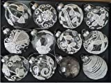 MC Trend 12er Set edle Luxus Glas Weihnachtskugeln Ø 8cm Weihnachtsbaum Kugeln Christbaumkugeln Weihnachts Deko ROT Gold Silber KLAR (KLAR)