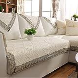 DW&HX Reine farbe Sofa möbel protector für hund,100 % baumwolle Sofabezug Volltonfarbe Verdicken sie Sofa werfen abdeckungen Anti-rutsch Gesteppter Spitze -E 35x71inch(90x180cm)