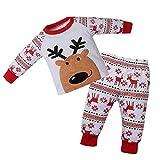 Ansenesna Baby Weihnachten Kostüm Mädchen Junge Elch Cartoon Soft Elegant Weihnachts Kleidung Tops und Hose (90, Rot)
