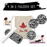 Faszien Fitness 4 in 1 Set (S/W): Faszienrolle + Mini-Rolle + Duoball + Faszienball + Baumwoll-Turnbeutel + 16seitiges Trainingsheft in Farbe + eBook (Farbe: Schwarz/Weiß - Set: 4 in 1)