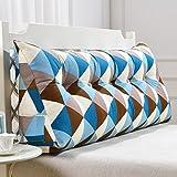 Bedside Rückenlehne Blaue quadratische Dreieck-Sofa-Kissen-Bett-Kopf-Kissen-ergonomische Entwurfs-Lehne und Taille umweltsmäßig waschbare Abdeckung mit 3D hoch-elastischer Perlen-Baumwollfüllung ( größe : 135cm (4 Buttons) )
