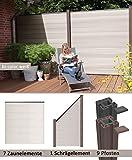 terrasso WPC/BPC Sichtschutzzaun bi-color weiß 7 Zäune, 1 Schrägelement inkl. 9 Pfosten Sichtschutz Gartenzaun