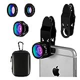 ELZO Fisheye Objektiv, 3 in 1 Clip on Handy Kamera Adapter für Smartphones (198 Grad Fischauge Objektiv, 0,65X Weitwinkelobjektiv, 15X Makro Objektiv)