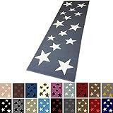 Moderner Läufer Teppich Brücke Teppichläufer Sterne Stars verschiedene Farben ca. 80x250 cm, Größe:80x250 cm, Farbe:grau/creme