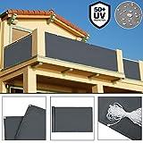 Deuba Windschutz 5m | UV-Schutz 50+ | Wasserabweisend | Sichtschutz Balkonbespannung Balkonumspannung Balkonsichtschutz | Einfache Montage | Waschbar | 500cm x 90 cm Anthrazit