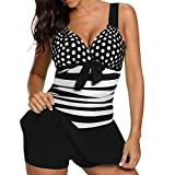 MRULIC Badeanzug Plus Size Tankini Sets Shorts Swimdress Beachwear Sommerferien (EU-40/CN-L, X-Violett)