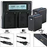 2xBlumax Akku für Sony NP-F980 / F970 / F750 / F550 / F960 - LG Zellen - 7850mAh mit 5V USB Ausgang (Powerbankfunktion) und DC Strom-Eingang + Doppelladegerät Dual Charger || KFZ 2 Akkus gleichzeitig Laden