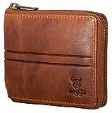 e7a21fc05c603 MATADOR Herren Damen Leder Geldbörse Brieftasche RFID Schutz Antik Braun  mit Metall Reißverschluss lederportemonnaie