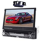 Alling-INDASH single-din 17,8 cm motorisiert aufklappbare Touchscreen Auto DVD/CD/USB/SD/MP4/MP3 Player GPS Navigation DVD-Player Bluetooth Abnehmbare Front Panel Kabelloser Fernbedienung + Back Kamera