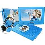 FUNAVO 9.5'' Tragbarer DVD-Player, Schwenkbaren Bildschirm, 4 Stunden Akku, Unterstützt SD-Karte und USB, mit Kopfhörer, Tragetasche, Auto-Ladegerät (Blau)