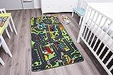 Kinderteppich CITY - 140cm x 200cm, Schadstoffgeprüft, Anti-Schmutz-Schicht, Auto-Spielteppich für Jungen & Mädchen, Verkehrsteppich Fußbodenheizung geeignet