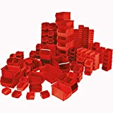 100x Sichtbox'CLASSIC', 55 Stück FB 6, 35 Stück FB 5 und 10 Stück FB 4, Sichtboxen rot sortiert