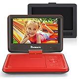 9' Auto Monitor Tragbarer DVD Player Kopfstütze Halterung KFZ mit 5 Stunden Akku Drehbarem Display SD Karte USB Mädchen Kinder Rot 09001R
