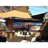 Sunfighters Sonnenschutz Garten Balkon und Terrasse wetterbeständig HDPE atmungsaktiv Schattenspender Rechteck 3x4 meter Sand