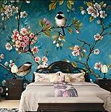 Wongxl Chinesische Pflaumen-Blüte Welche Die Wohnzimmersofa-Fernsehhintergrundwandpapierbehälter Blume-Und-Vogel Tapetenwände Malt 3D Tapete Hintergrundbild Fresko Wandmalerei Wallpaper Mural 150cmX100cm