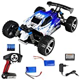 FPS RTR Bundle: RC 2.4G Speed Elektro Buggy Blau Weiß, Pistolenfernbedienung, bis 50 kmh, 1:18 + 2X LiPo Akku+ 4X AA Batterien, RAYLINE FR01 A15, A959