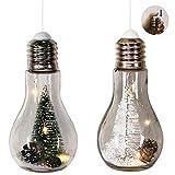 Mojawo 2 Stück LED Glühlampe Deko Lampe Glas mit Tannenbaum Grün/weiß zum aufstellen oder hängen kabellos Weihnachtsdeko H 18 cm