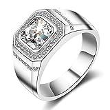 ENYU Herren-Ring - Silber Vergoldet Zirkonia Transparent,Partnerschaftsringe Eheringe Verlobungsringe