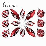 Valery Madelyn 14 TLG 6-10cm Weihnachtskugeln Glas Lieber Weihnachtsmann Thema Christbaumkugeln mit Schneemuster Anhänger Weihnachtsbaumschmuck Weihnachten Dekoration