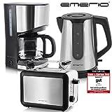 Emerio Frühstücks-Set Kaffeemaschine Toaster Wasserkocher Edelstahl schwarz