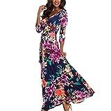 Hffan Damen 2018 Neu Lange Kleider Eng Slim Fit High Waist V Ausschnitt Blumenmuster Mode A-Linie Kleid Halbe Hülse Langarm Elegant Blau Sexy Rot Weich Schicke Kleid(Rosa,X-Large)