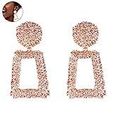Frauen Maxi Drop Ohrringe große geometrische Anhänger Ohrringe Hochzeit Statement Schmuck weibliche Bijoux 1 Paar - Rose Gold