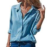 b21e0d911c109e NEEKY Damenmode Button Down Shirt Kleidung, Frauen Casual Solide  Umlegekragen Langarm Bluse Tops mit Tasche