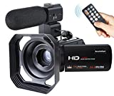 Wifi Camcorder,Ansteker 1080P Full HD Digitale Tragbare Videokamera 30FPS mit Externem Mikrofon und Gegenlichtblende