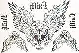 TATTOO Temporär Arm Oberarm Tattoo Aufkleber Totenkopf Flügel auch für Körper Schulter Rücken Bein hb059 UNISEX