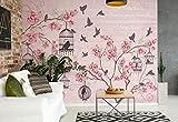 Vögel Kirschblüten-Rosa - Wallsticker Warehouse - Fototapete - Tapete - Fotomural - Mural Wandbild - (2775WM) - XXXL - 416cm x 254cm - VLIES (EasyInstall) - 4 Pieces