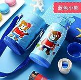 WJNGQJKXKIJ isolierbecher Travel Mug Edelstahl-Isolierkanne Hersteller 316 Edelstahl Isolierkanne Kinder Reisetopf mit Strohdoppelabdeckung Kindergarten, blau, 550ml