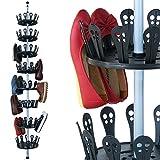 Deuba XXL Schuhregal Metall Ausziehbar | Platz für 96 Schuhe | Höhenverstellbar 80-280cm | 8 Ebenen Drehbar - Metall Schuhkarussell Schuhständer Schuhschrank Teleskopregal