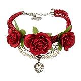 Alpenflüstern Blüten-Trachten-Collier Celine - Trachtenkette mit Satin-Kordeln und Stoff-Blumen - Damen-Trachtenschmuck mit Perlenketten und Trachten-Herz, Dirndlkette Rot DHK149