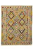 CarpetFine: Kelim Afghan Teppich 155x197 Beige,Violett - Geometrisch