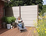 WPC / BPC Sichtschutzzaun bi color-weiß 2 Zäune inkl. 3 Pfosten in dark grey Sichtschutz Gartenzaun Zaun