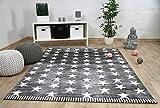 Savona Kinder und Jugend Teppich Grau Creme Sterne in 5 Größen