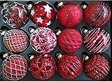 My-goodbuy24 12er Set Luxus Weihnachtskugeln Echtglas Glaskugeln Weihnachten weihnachtsdeko Christbaumkugeln Set M 8 cm rot