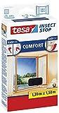 2 Stück tesa Insect Stop COMFORT Fliegengitter für Fenster / Insektenschutz mit selbstklebendem Klettband in Anthrazit / 130 cm x 150 cm