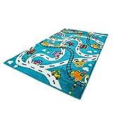 carpet city Kinderteppich Flachflor Moda Kids mit Autos, Straßen, Eisenbahn, Flugzeug in Türkis Größe 160/225 cm