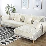 FDJKGFHGFCGDFGDG Volle deckung schonbezug sofa,Winter Anti-rutsch plüsch sofabezug Rückenlehne zu decken Moderne schlichtheit couch abdeckungen Sofabezug für wohnzimmer -Weiß 70x150cm(28x59inch)