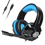 USB Gaming Kopfhörer TECKNET, Wired 7.1 Kanal Surround Sound USB PC Computer Gaming Headset Over Ear Headphones mit Mikrofon, Lautstärkeregler und LED-Leuchten